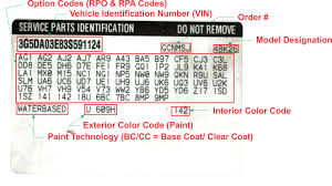 Automotive Paint Code Location General Motors Service Parts Identification Label Explained