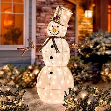 Lighted Christmas Outdoor Decorations by Christmas Tree Snowman Lighted Sculpture Garden Ideas Design