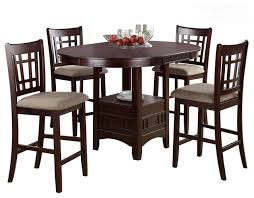 rosy brown 5 piece counter height dining set round table leaf