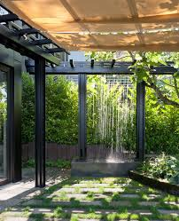 Pergola Lanterns by Copper Scuppers Water Feature Landscape Contemporary With Black
