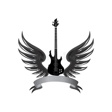 rock symbol electric guitar with wings and bow ribbon for