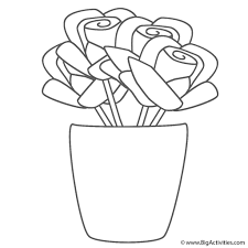 vases roses in vase coloring page mother u0027s day pertaining to