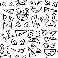 halloween seamless background funny scary faces messy monochrome autumn holiday halloween