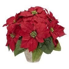 poinsettia with ceramic vase silk flower arrangement walmart com