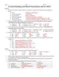 covalent bonding and mixed nomenclature review key