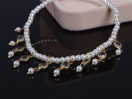 pearl bracelet elastic images Elastic link pearl anklet bracelet with crystal beads pendant jpg