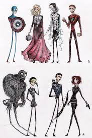 lanky the avengers in the style of tim burton geekologie