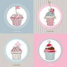 Cherry Cupcake Invitation Card Royalty Decorative Hand Drawn Sweet Cupcakes Cards U2014 Stock Vector