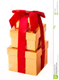 wrapped gift boxes three gold wrapped gift boxes stock photo image of ribbon