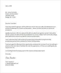 Business Letter Offer acceptance letter exle of a letter sent via email to