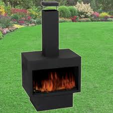 outdoor fire pit metal chiminea log wood burner garden patio