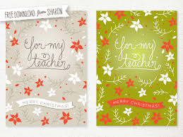 free printable teacher christmas card sweet muffin suite diy