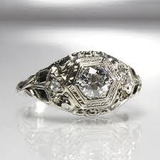 art deco engagement ring 18k white gold filigree old european cut