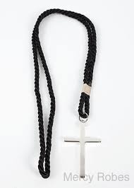 black clergy cord with silver cross mercy robes