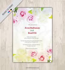 Floral Invitation Card Designs Floral Watercolor Invitation Card Design 123freevectors
