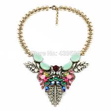 coloured statement necklace images Imitation old gold color rainbow colors statement spring jewelry jpg