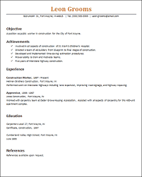 Resume Of Construction Worker Basic Resume Templates Downloads For Ms Word