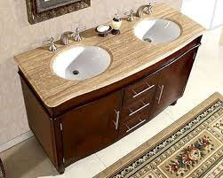 Vanity Bathroom Tops Silkroad 55 Bathroom Vanity Travertine Top White Sinks