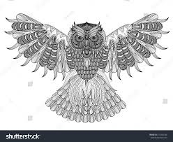 vector hand drawn owl coloring page stock vector 416260786