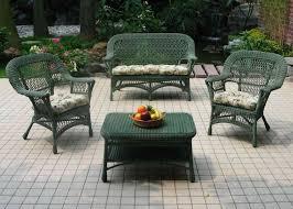 furnitures classic green wicker patio furniture set above ceramic