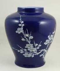 Chinese Hand Painted Porcelain Vases Taiwan Roc Floral Cobalt Blue Porcelain Vase Taiwan Republic Of