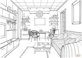 living room with a luminous ball coloring page free printable