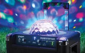 ion portable speaker system with party lights block party live portable wireless speaker system with party