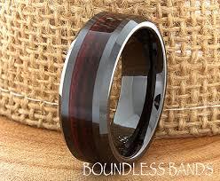 wood inlay wedding band ceramic wedding ring wood mens wedding band black ceramic band