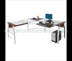 Shaped Desks L Shaped Glass Computer Desk 30 H X 61 1 2 W X 61 1 2 D Mezza