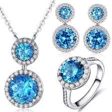 cubic zirconia necklace set images Ocean blue aaa cubic zirconia necklace earrings ring jewelry jpg