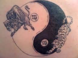 yin yang taurus bull with tiger tattooshunt com