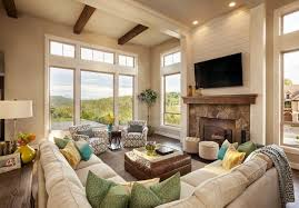 this sitting room is centered around the large stone mantle and the tv the communal