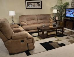 Fabric Recliner Sofa 2 Power Lay Flat Reclining Set In Almond Fabric By Catnapper