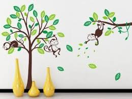 Monkey And Large Tree Wall Sticker Decal For Kids - Cheap wall stickers for kids rooms