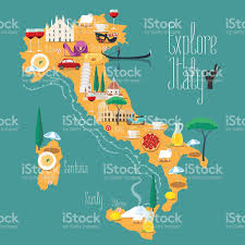 Maps Of Italy by Map Of Italy Vector Illustration Design Icons With Italian