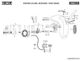 14 steering column mudguard front hub caliper assy tasso lml