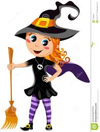 little cute with halloween witch costume stock image image