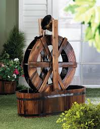 spinning wood outdoor water mill fountains waterfall garden pumps