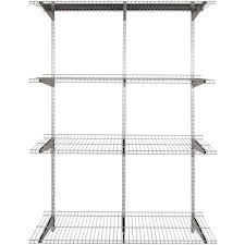 Rubbermaid Fasttrack Closet Rubbermaid Fasttrack 4 Shelf 16 In X 48 In Silver Metallic Wire