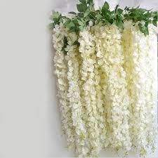 white artificial silk hydrangea flower wisteria garland