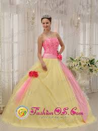 winter graduation dresses winter light yellow and baby pink made flowers sweet