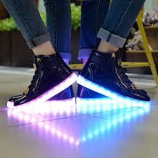 light up shoes gold high top men women usb charger metal flashing dancing sneaker led light up