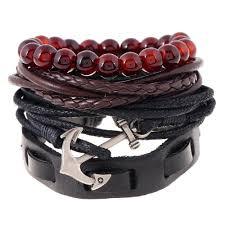 anchor braided bracelet images Multi storey leather bead anchor braided bracelet jpg