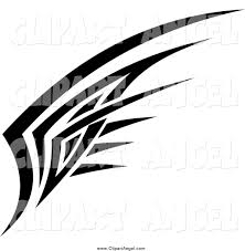 illustration vector of a black and white tribal wing design