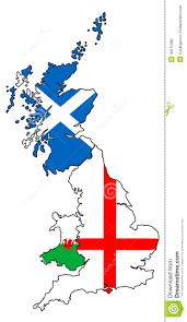 Country Flags England England Scotland Wales Outlines With Flags Overlaid Stock