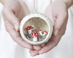 diorama ornament with spun cotton mushrooms smile mercantile