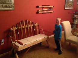 hand crafted baseball bat bench by rocky mountain woodworks