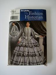 simplicity sewing pattern 9761 southern belle crinoline lady civil