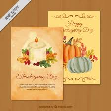 pretty watercolor greeting cards of thanksgiving vector free
