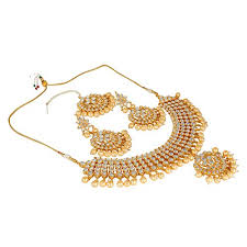 bridal wedding necklace set images Quail gorgeous gold plated choker kundan pearl bridal party wear jpg